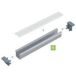 LUMINES Beépíthető mély Led profil csomag Natúr 1 méter Víztiszta PMMA takaróval