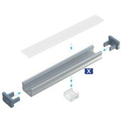 LUMINES U alakú keskeny Led profil csomag Natúr 2 méter Opál PMMA takaróval