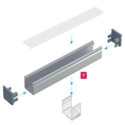 LUMINES Magas U alakú Led profil csomag Natúr 1 méter Víztiszta PMMA takaróval