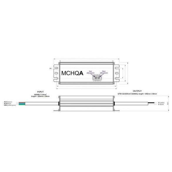 POS Led tápegység MCHQA-250-12 216W 12V 18A IP65 dimmelhető