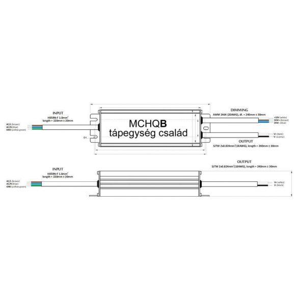 POS Led tápegység MCHQB-250-12 216W 12V 18A IP67 dimmelhető