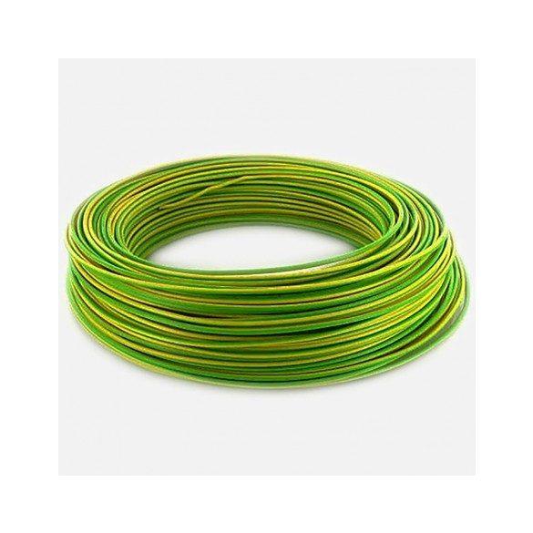 MCu 2,5mm2 tömör réz erű zöld/sárga vezeték PVC szigeteléssel. H07V-U 2,5