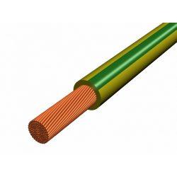MKH 1 mm2 zöld/sérga sodrott rézerű vezeték, PVC köpeny szigeteléssel. 450/750V