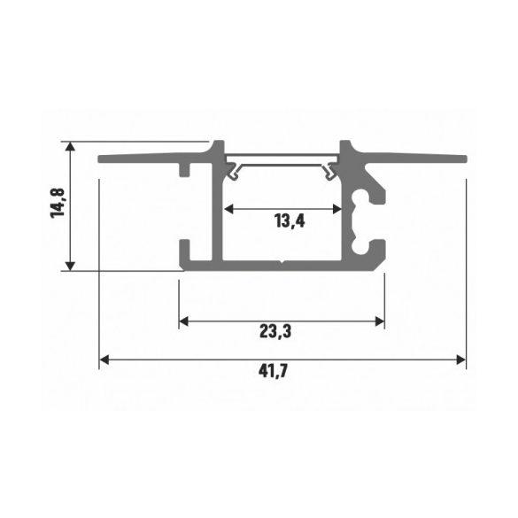 LED Alumínium Profil MONO Ezüst 2 méter