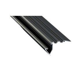LED Alumínium Lépcső Profil SCALA Fekete 3 méter