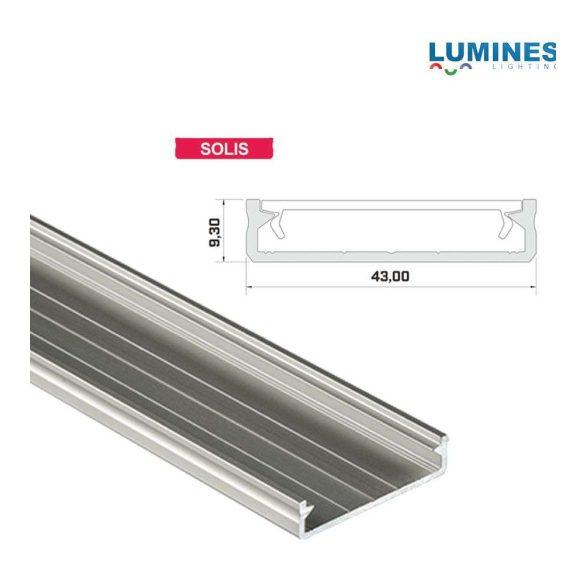 LED Alumínium Profil Széles [SOLIS] Ezüst 2 méter