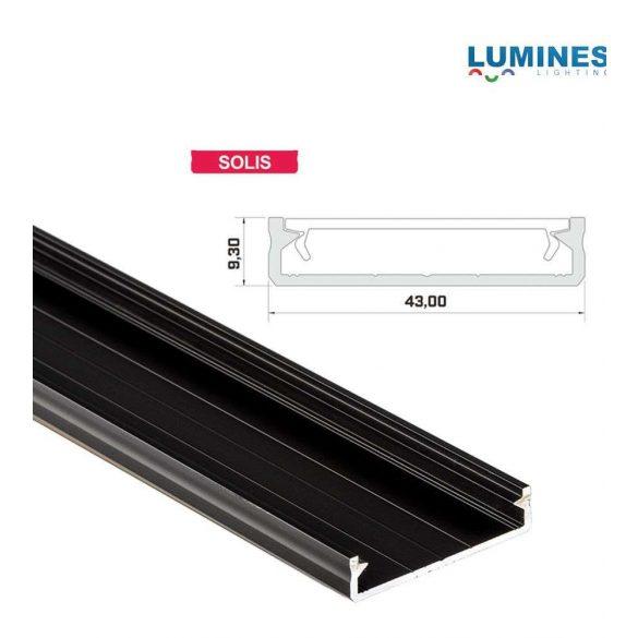 LED Alumínium Profil Széles [SOLIS] Fekete 2 méter