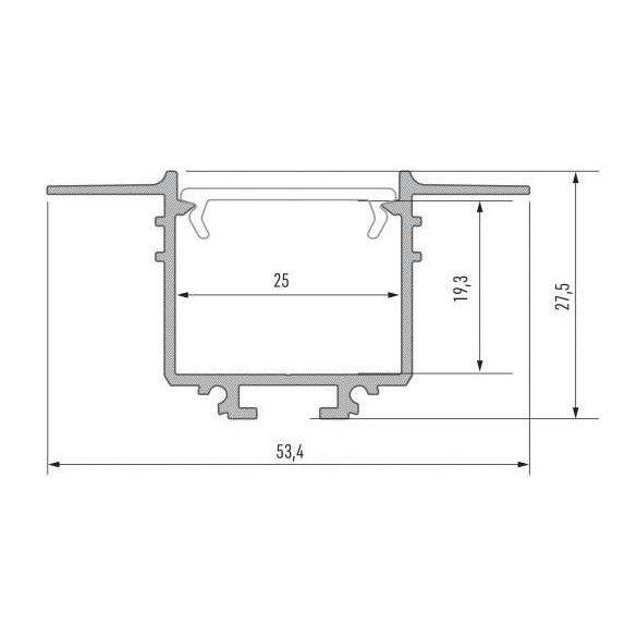LED Alumínium Profil SUBLI Fehér 2 méter