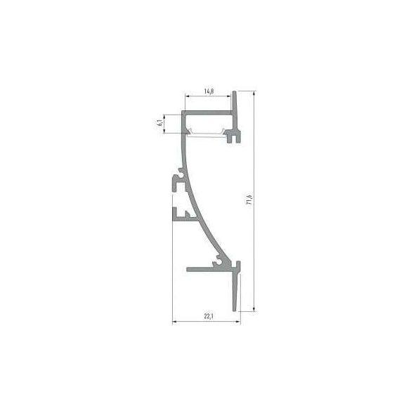 Led Alumínium Profil TIANO 2 méter Ezüst