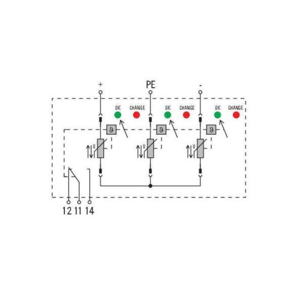 Weidmüller Túlfeszültség levezető - VPU PV II 3 R 1000 távfigyelmeztető funkcióval
