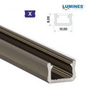 LED Alumínium Profil Keskeny [X] Bronz 1 méter