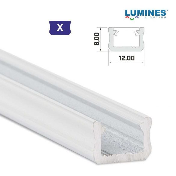 LED Alumínium Profil Keskeny [X] Fehér 1 méter