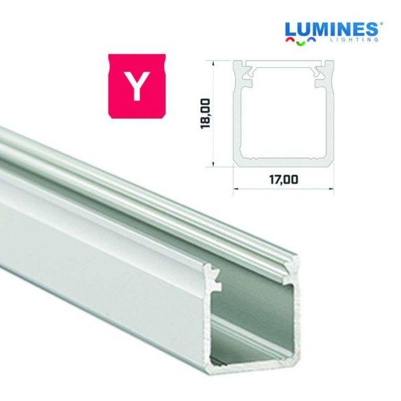 Led profil led szalagokhoz Magas falú  ezüst 1 méteres alumínium