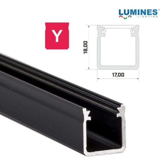 Led profil led szalagokhoz Magas falú  fekete 2 méteres alumínium