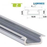 LED Alumínium Profil Beépíthető [Z] Natúr 2 méter