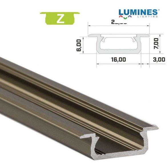 LED Alumínium Profil Beépíthető [Z] Bronz 2 méter