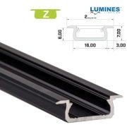 LED Alumínium Profil Beépíthető [Z] Fekete 2 méter