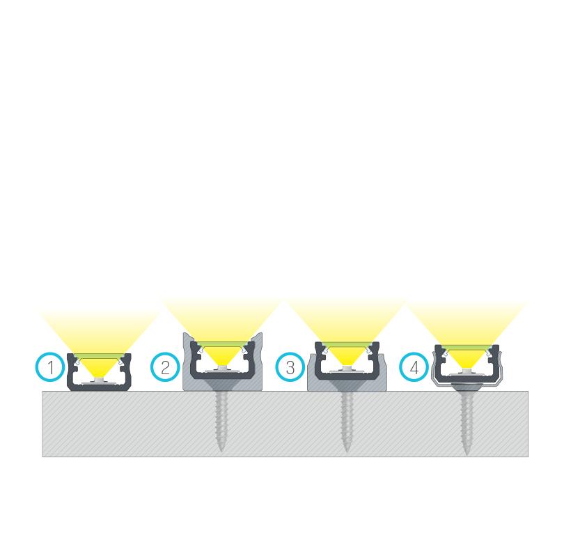 Összeállított szerelések, (1) kétoldalas ragasztószalaggal, (2) normál rögzítő klipsszel, (3) mini rögzítő klipsszel, (4) fém klipsszel
