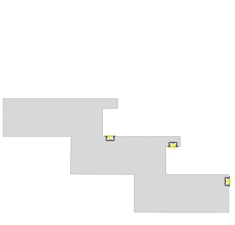 A B profil lépcsőbe süllyesztve