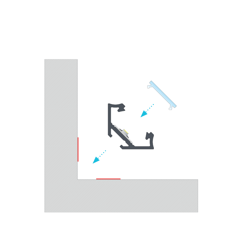 Beszerelési útmutató a C szögprofilhoz, BASIC fedővel, kétoldalas szalaggal